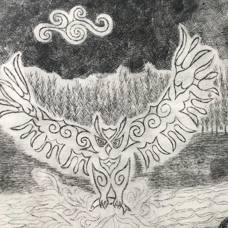 「神の鳥、月夜の闇に、飛んでいく」